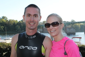 Us before the start of Ironman 70.3 in Augusta, GA